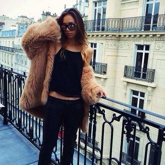 fur fur coat black top tank top skinny jeans dark blue