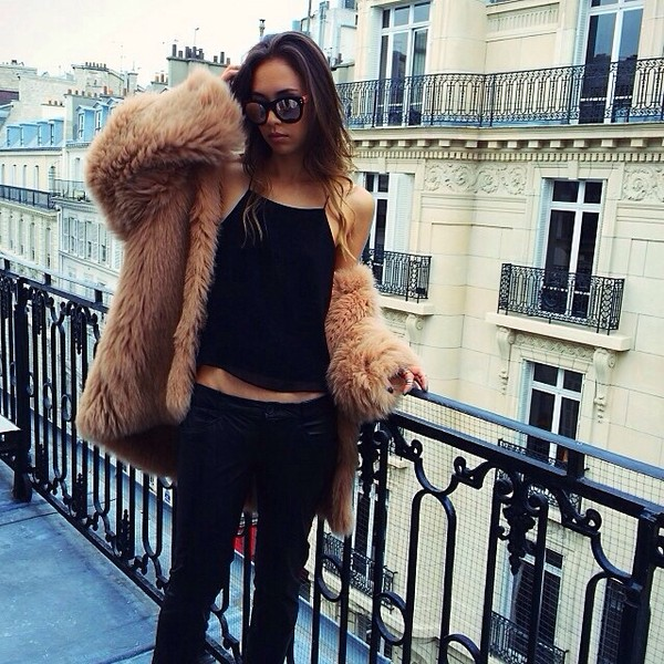fur fur coat black top tank top skinny jeans dark blue
