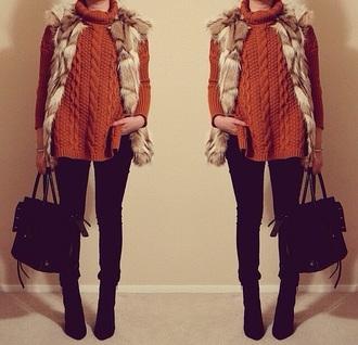 sweater orange warm oversized sweater