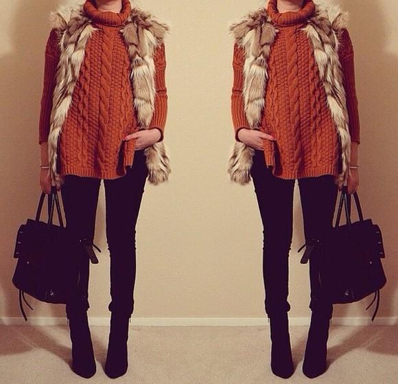 oversized sweater sweater orange warm