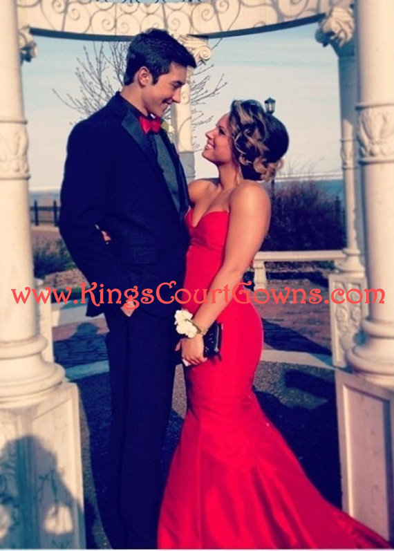 Replica red taffeta trumpet train prom evening pageant dress gown