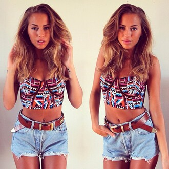 tank top shorts crop tops belt shirt aztec bustier high waisted shorts light blue denim ripped shorts roll up shorts roll-up blouse top