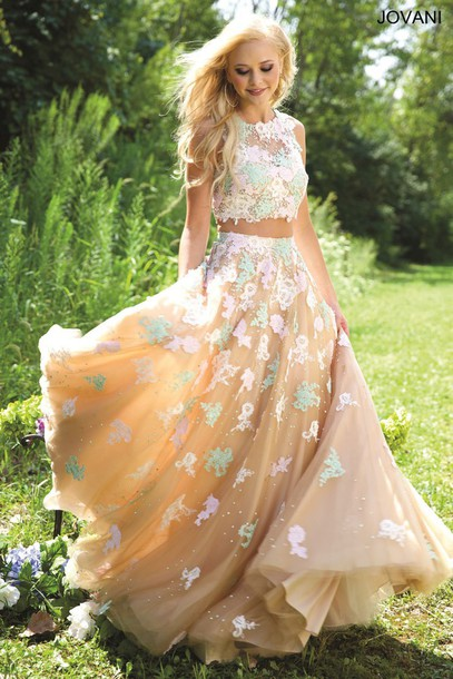 dress prom jovani floral two-piece prom dress