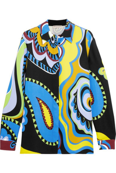 Emilio Pucci shirt print yellow paisley top