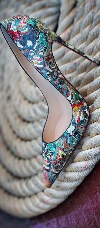 pointed toe heels heels colorful print high heels blue multicolor