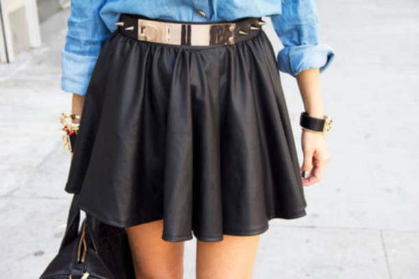 Skirt: leather, summer, belt, gold, denim shirt, leather skirt ...