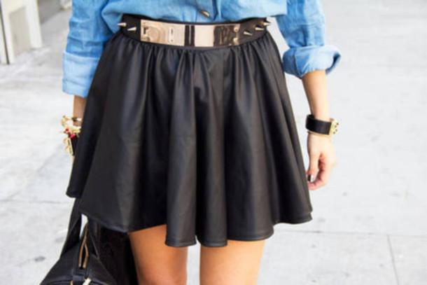 skirt leather summer belt gold denim shirt leather skirt acessories ootds beautiful perfect flawless black