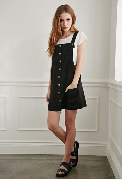 Dress Black Buttons Cute Lovely Nice Girly Kstyle Casual