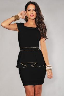cheap Ivory Gold Trim Peplum Dress Black wholesale - All Products,Fashion Dresses,Peplum dresses - lover-secret.com
