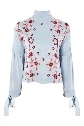 blouse embroidered pale blue satin top