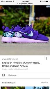 shoes,nike,nike roshe run,purple,lavender,floral,pattern,flowers