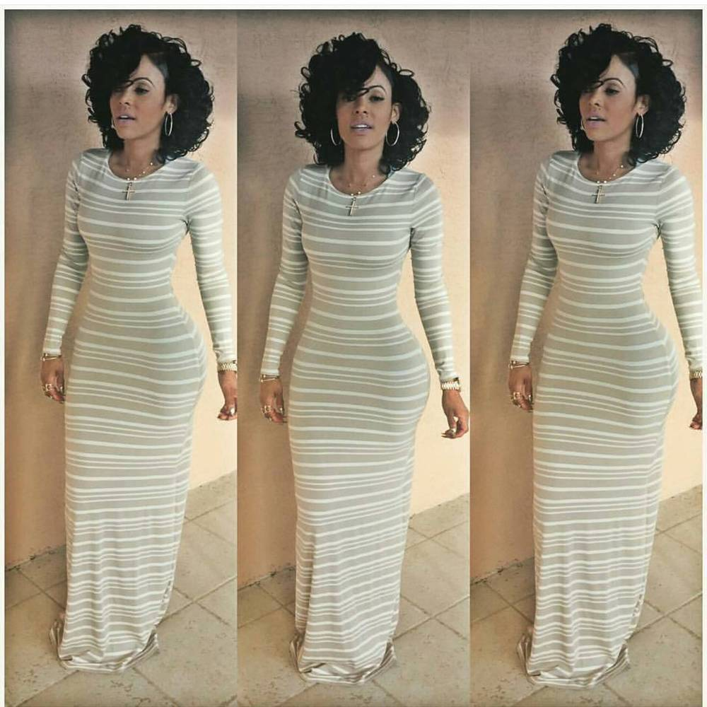 Sexy Women Slim long sleeves Striped Bodycon Evening Party Cocktail ...