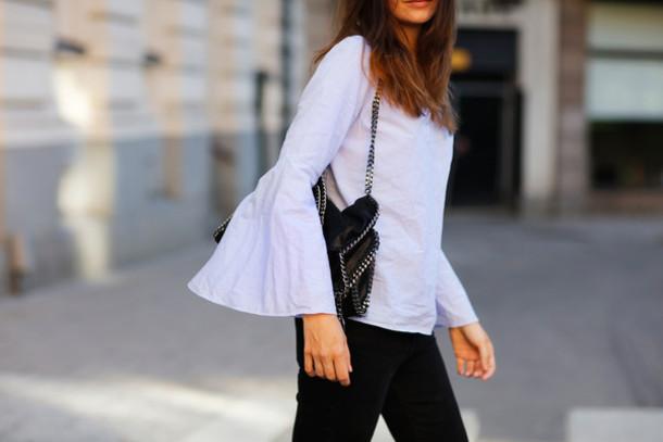 carolines mode blogger jeans blouse bag black jeans blue top