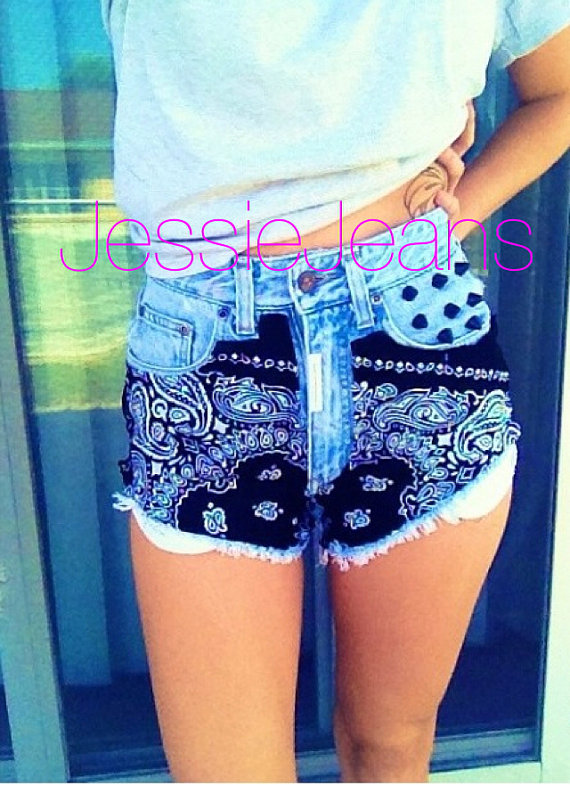 High waisted black bandana denim shorts by JessieJeans on Etsy