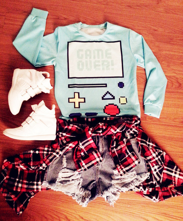 oasap oasap_fashion gameover sweater cardigan shirt top plaid plaid shirt checkered checked shirt denim shorts ripped jeans jeans sneakers shoes outfit funny shirt fall outfits winter outfits clothes fashion