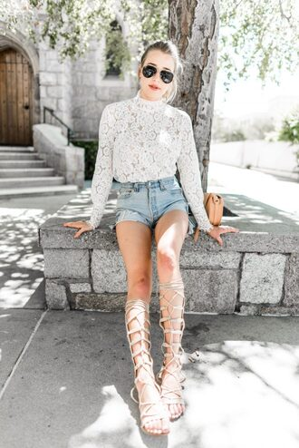 hustle and halcyon blogger distressed denim shorts denim shorts lace blouse white lace white blouse gladiators knee high gladiator sandals long sleeves romantic summer