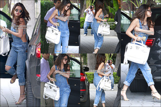 shirt bralette overalls denim overalls ripped jeans white bag leopard print high heels selena gomez cute spring outfits designers summer outfits jeans