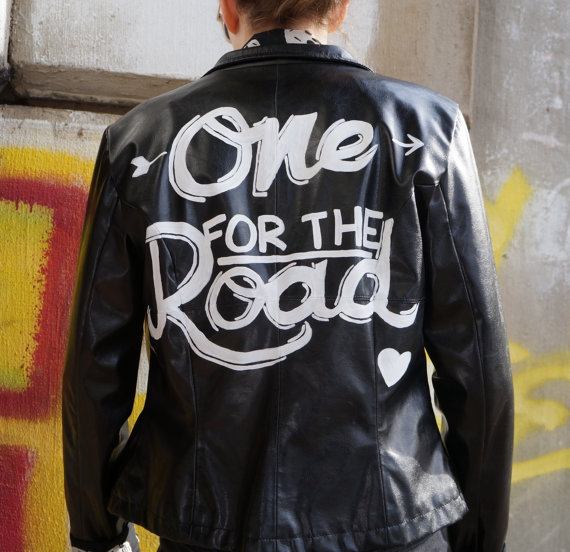 Alex turner arctic monkeys one for the road handpainted black leather jacket