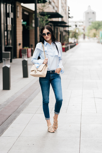shirt ruffled top tumblr blue shirt ruffle denim jeans blue jeans sandals flat sandals cropped jeans shoes