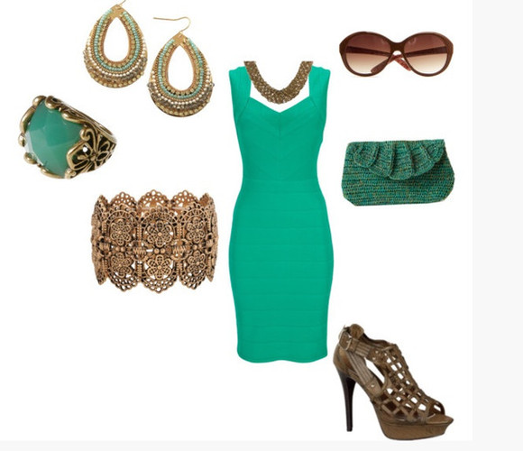 jewels dress clothes outfit high heels shoes bracelets bangle aqua platform high heels t-strap heels brown heels whicker straps short dress form fitting dress teal turquoise thick strap bag clutch sunglasses earrings hoop earrings thick earrings ring
