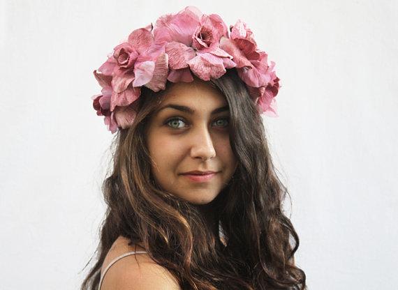 Velours rose rose couronne  couronne de fleur par bloomdesignstudio