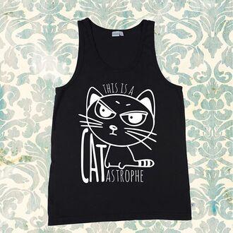 tank top playful banterer printed t-shirt graphic tee graphic shirt grumpy cat cat shirt funny t-shirt funny shirt funny shirts cats kitten face