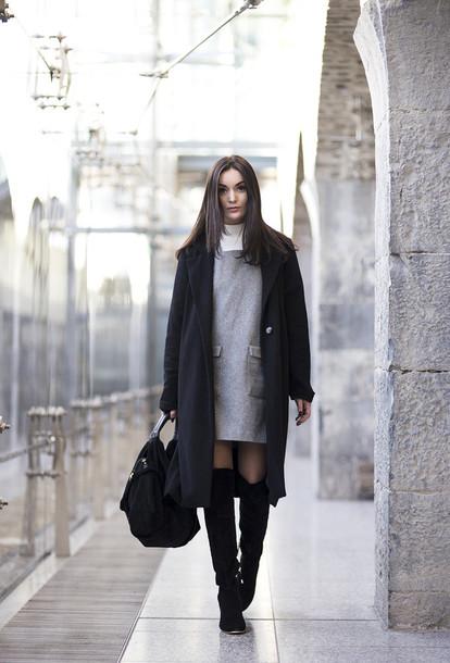 anouska proetta brandon blogger shift dress grey coat black bag winter dress