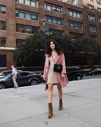 coat tumblr pink coat dress nude dress mini dress boots ankle boots fall outfits bag black bag crossbody bag
