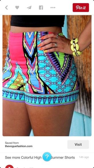 shorts colorful aztec