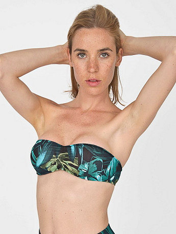 Jungle Leaves Print Nylon Tricot Ruched Front Bikini Tube Top  | American Apparel