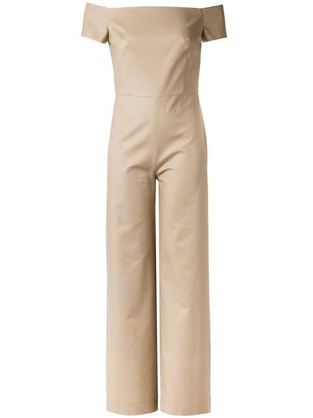 Andrea Marques - off the shoulder jumpsuit - women - Cotton/Spandex/Elastane - 38, Nude/Neutrals, Cotton/Spandex/Elastane