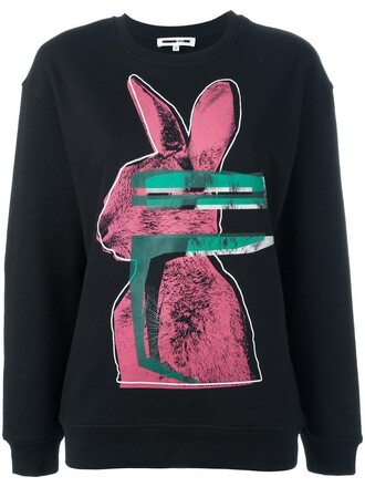sweatshirt bunny women cotton print black sweater