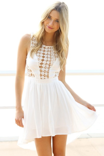 White Party Dress - White Dress with Cutout Back | UsTrendy