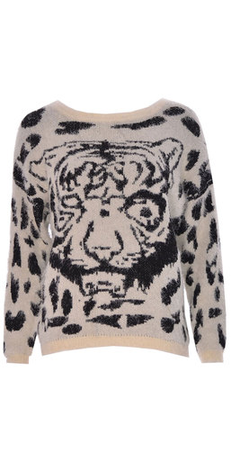 Ladies Tiger Face Knitted Jumper In Off-White SM,ML