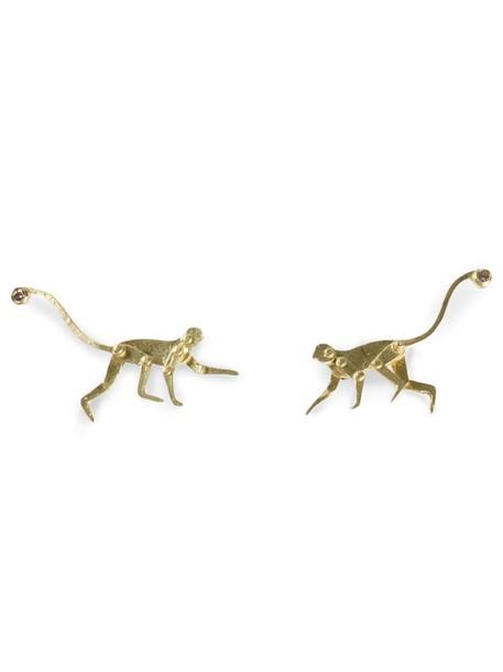 Marc Alary women monkey earrings stud earrings gold grey metallic jewels
