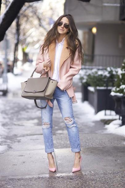 something navy blogger shearling jacket ripped jeans handbag jeans shoes coat bag jewels sunglasses