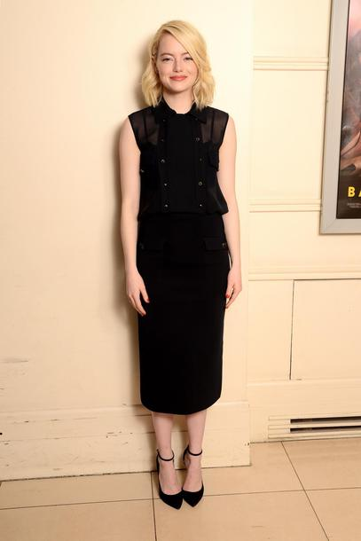 shoes midi dress all black everything pumps emma stone