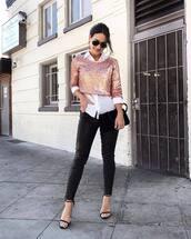 top,pink sequin,pink sequins,crop tops,crop,pants,black pa,black pants,leather pants,black leather pants,sandals,sandal heels,high heel sandals,shirt
