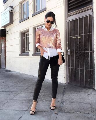 top pink sequin pink sequins crop tops crop pants black pa black pants leather pants black leather pants sandals sandal heels high heel sandals shirt
