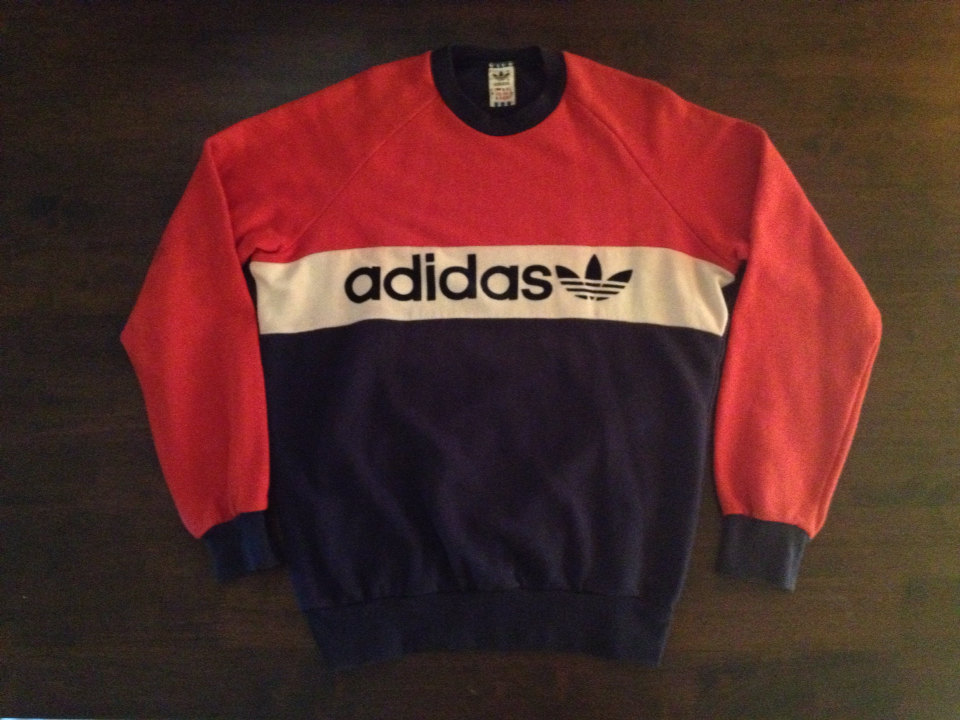 Rare Vintage Adidas Trefoil Sweater Sweatshirt Sz M/M Velvet Embroidered Made in West Germany