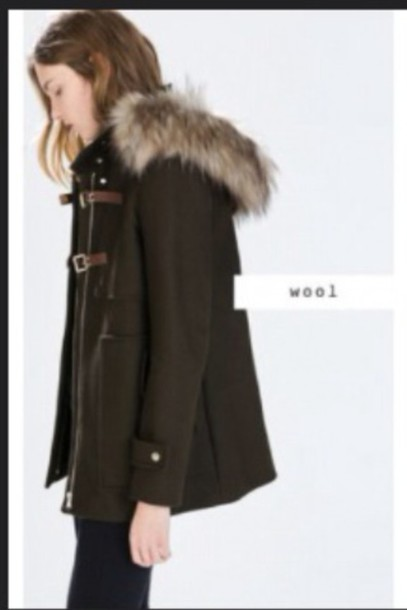 jacket brow duffel coat with fur