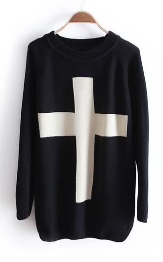 sweater black cross goth pullover white