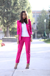 pants,power suit,pink pants,sandals,sandal heels,high heel sandals,black sandals,top,white top,pink,pink blazer,blazer,matching set,two piece pantsuits,spring outfits,office outfits,business casual,work outfits