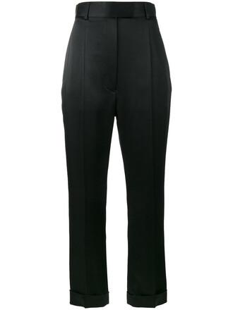 high waisted high women cotton black pants