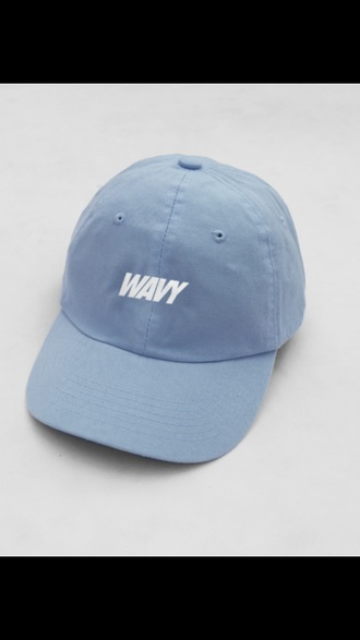 hat baby blue blue she so wavy light blue white
