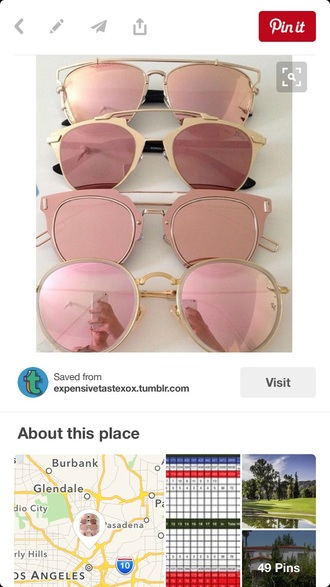 sunglasses rose gold gold pink trendy