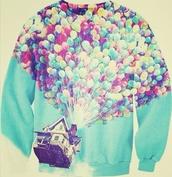 jacket,disney sweater,sky blue,sexier sweaters,hoodie,sweatshirt,balloons,sweater,up disney movie,disney,baloons,house,up,cool,sky,clouds,cartoon