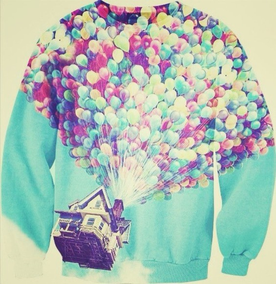 cartoon baloons house up cool sky clouds jacket balloons sweater up disney movie disney