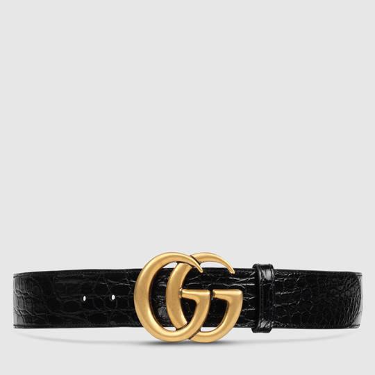 52edba58e Gucci Crocodile belt with double G buckle