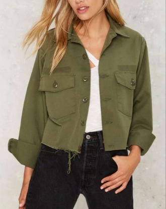 jacket girl girly girly wishlist khaki crop cropped button up olive green cropped jacket